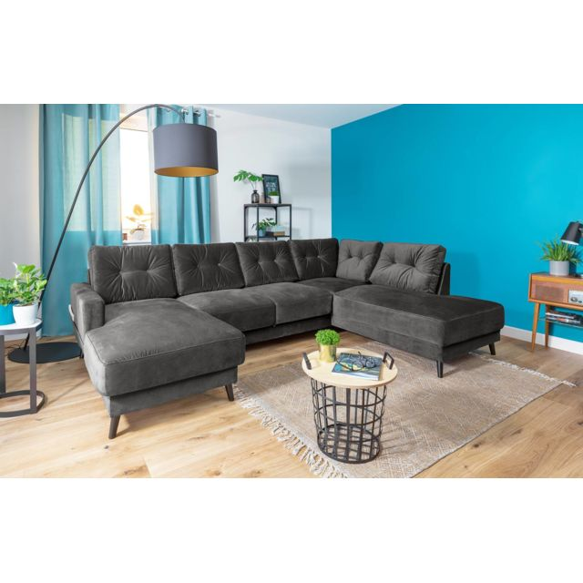 bobochic canap stockholm panoramique gris fonce droit 198cm x 290cm x 87cm droite achat. Black Bedroom Furniture Sets. Home Design Ideas