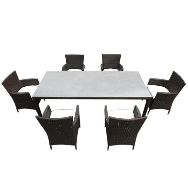 BELIANI Table de jardin en rotin 160 cm - 6 chaises en rotin - coussins blanc cassé - ITALY