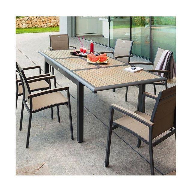 HESPERIDE - Table extensible Azua en bois 12 personnes taupe ...
