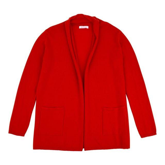 Les Poulettes Bijoux Gilet Col Châle 100% Cachemire 2 Fils - Rouge - taille S
