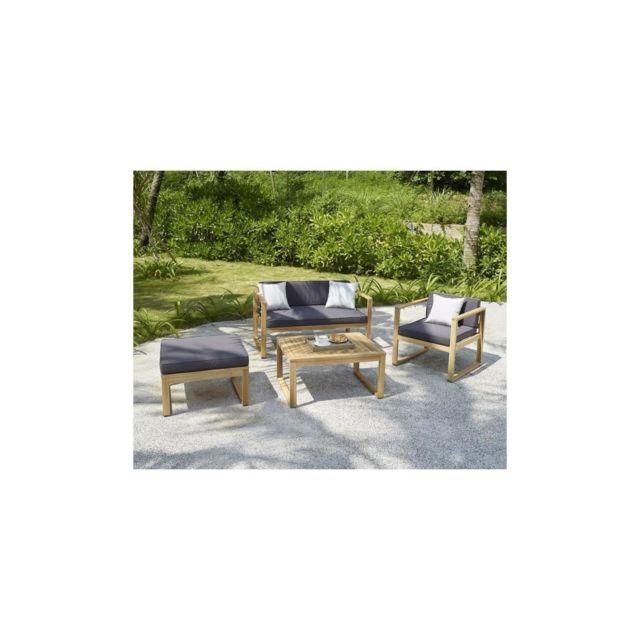 Moa Salon de jardin 4 places en bois dacacia Fsc - un fauteuil, une  banquette 2 places et un pouf