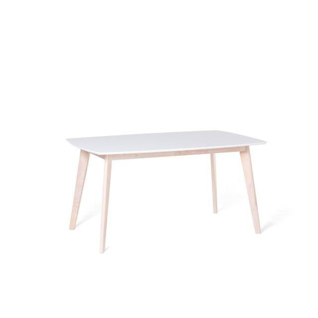 BELIANI Table de cuisine blanche 150 x 90 cm SANTOS - blanc