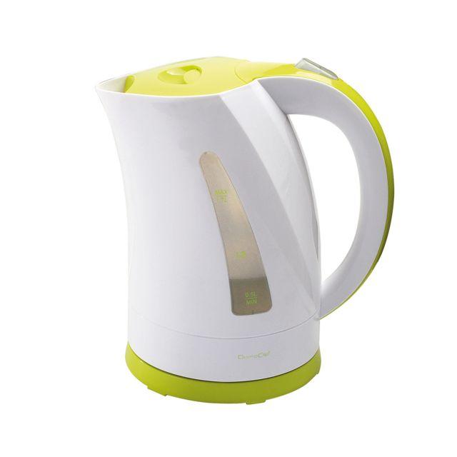 Domoclip Bouilloire 2200W sans fil Blanc/Vert 1,7L avec réservoir d'eau visible - Dom298BV