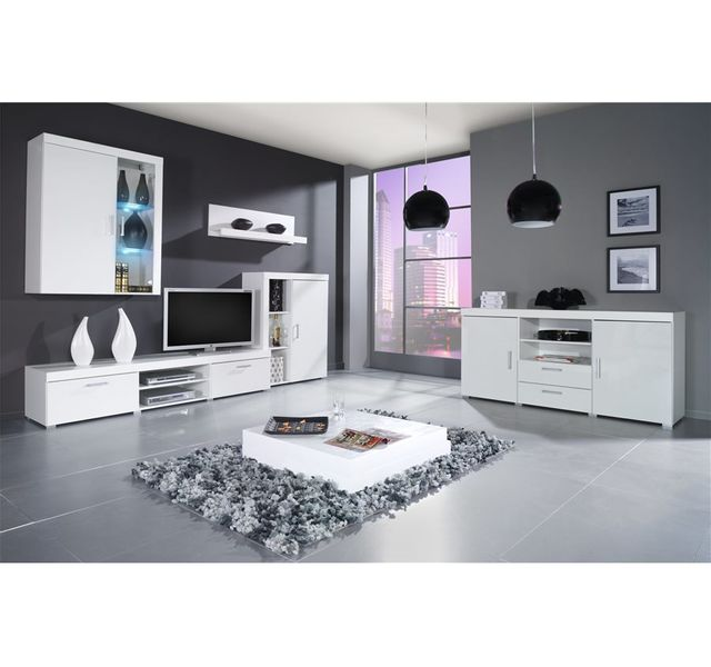 CHLOE DESIGN Meuble tv mural design MAMBA avec commode - blanc