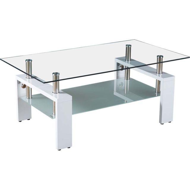 HABITAT ET JARDIN TABLE BASSE CAMILLIA - 110 X 60 X 45 CM - BLANC