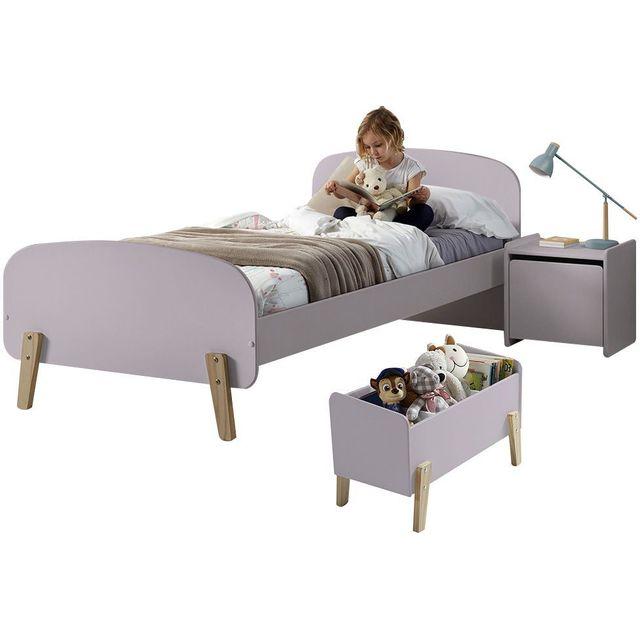 COMFORIUM - Ensemble chambre enfant design scandinave avec lit 90x200, chevet, et coffre de rangement coloris rose ancien 90cm x 200cm