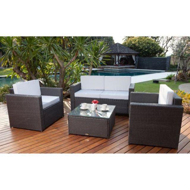 Beau Rivage - Bali Salon de jardin résine tressée acier gris ...
