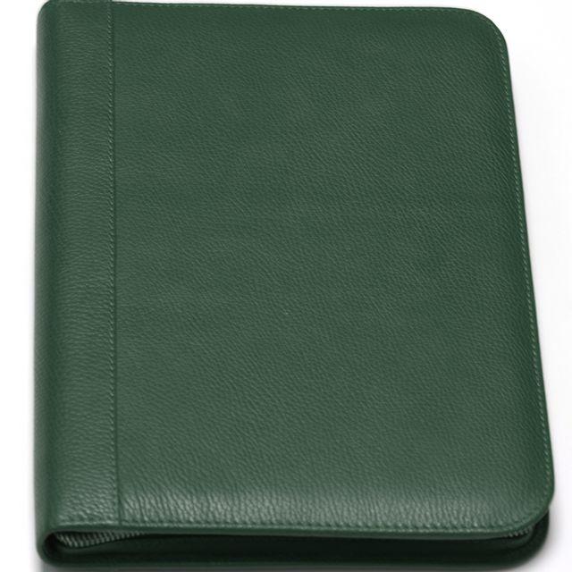 Volumica - Conférencier portfolio cuir pleine fleur A4 Vert Lafayette 7f4cf693cb6