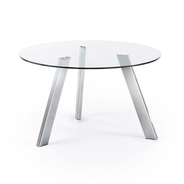 Kavehome Table Carib 130 cm, argent et verre