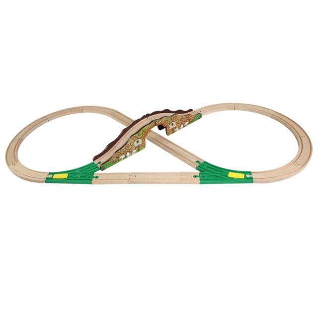 Voie ferrée en bois jouet compatible chemin de fer éducatif 20pcs pont voie