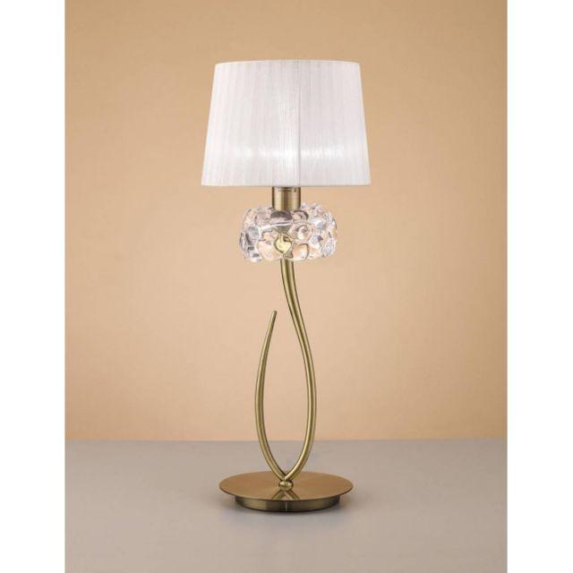 Luminaire Center Lampe de Table Loewe 1 Ampoule E27 Big, laiton antique avec Abat jour blanc