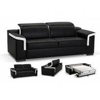 Linea Sofa - Canapé 3 places convertible express cuir luxe Hippias - Bicolore noir et blanc