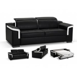linea sofa canap 3 places convertible express cuir luxe hippias bicolore noir et blanc noir. Black Bedroom Furniture Sets. Home Design Ideas