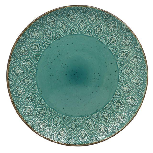 Thekitchenette Lot De 4 Assiettes Plates En GrÈS Ø28CM Collection Hoggar Blue