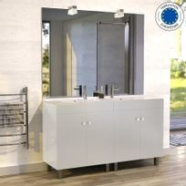 Creazur - Meuble salle de bain ÉCOLINE 140 double vasque résine – Blanc brillant