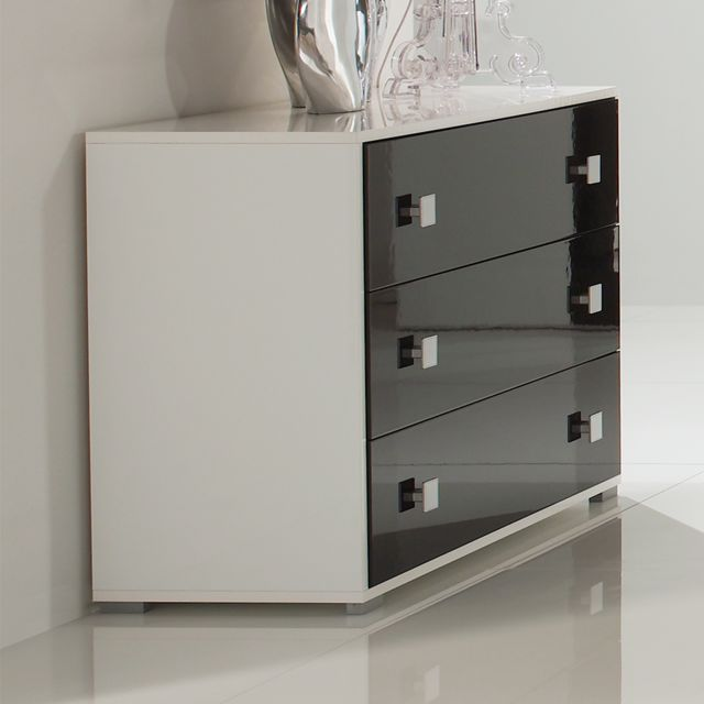Nouvomeuble Commode noir et blanc design Dafina