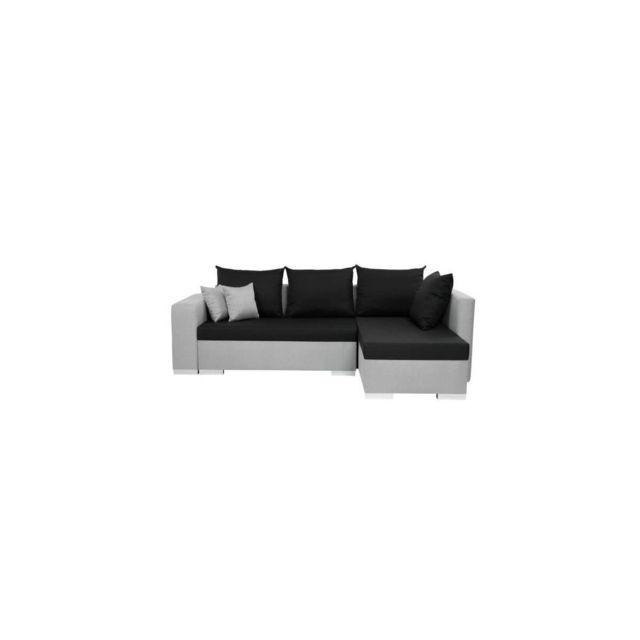 Sans Marque Mirjan24 - Canape Dangle Convertible Reversible Clovis - Simili Gris Et Noir