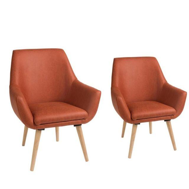 Tousmesmeubles Duo de fauteuils Simili cuir Rouille - Vava