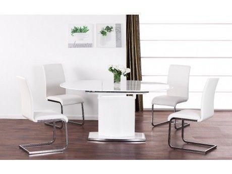 VENTE-UNIQUE Table extensible ORNELA - 6 couverts - MDF & chrome - Blanc