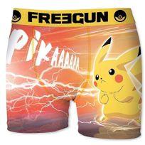 Pokémon - Freegun Boxer Homme Microfibre Atk Orange Jaune Pokemon
