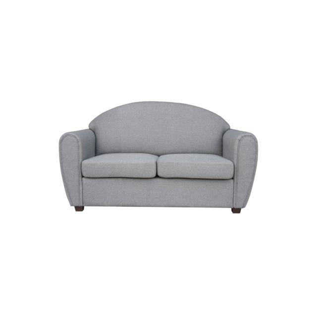 Canapé fixe 2 places club en tissu, coloris gris clair