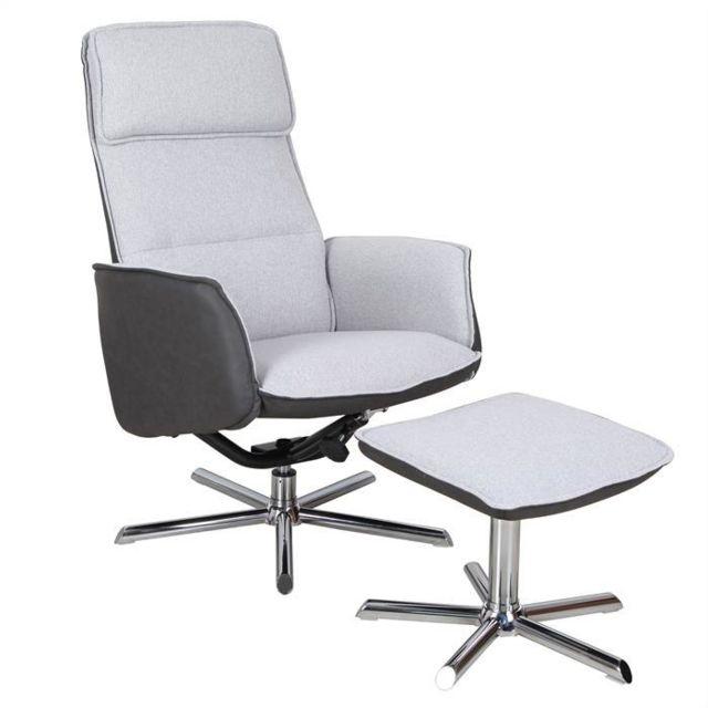 IDIMEX - Fauteuil de relaxation RENO design relax avec repose-pieds pouf  siège pivotant 4193969a68e4