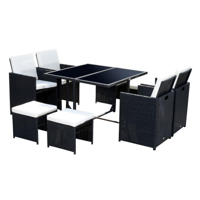 OUTSUNNY - Ensemble salon de jardin encastrable 8 places 4 fauteuils ...