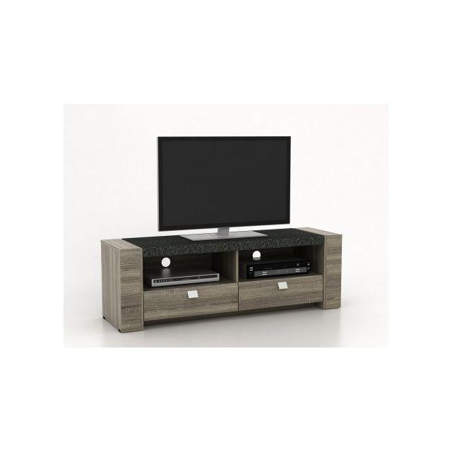 VENTE-UNIQUE - Meuble TV METEORITE - 2 niches & 2 tiroirs - MDF ...