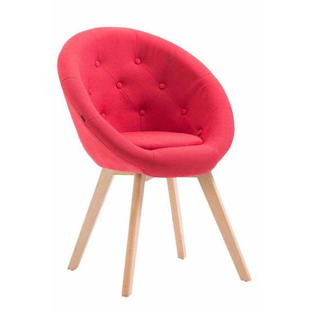 La Chaiserie Chaise Fauteuil Design en tissu avec boutons à dos rond et cadre en bois de hêtre Naturelle RougeChelsea