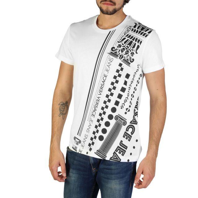 8a38a555f9ff Buzzao - T-shirt homme Versace Jeans blanc et noir - pas cher Achat   Vente  Tee shirt homme - RueDuCommerce