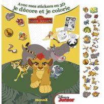 Hemma - mes petits stickers en 3D ; la garde du Roi Lion ; avec mes stickers en 3D, je décore et je colorie