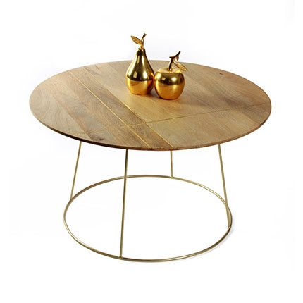 Table basse 80x45cm en manguier et métal