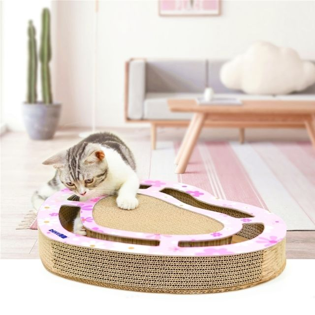 Wewoo Panier Coussin Jouet de griffe broyage litière chat en carton ondulé pour avec plateau