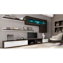 Comfort - Home Innovation - Meuble de télévision, Meuble de Salon Moderne avec Leds, finitions Blanc Laqué et Wengué, Dimensions : 250x190x42 cm de profondeur