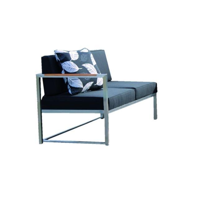 Jan Kurtz Canapé 2 places Lux Lounge - accoudoir gauche - acier inoxydable - gris/blanc