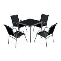 Salon de jardin BALI en textilène noir 4 places - structure grise