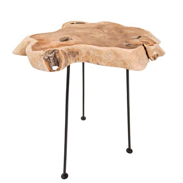 Comforium Table basse 40 cm en bois massif avec 3 piétements en métal noir