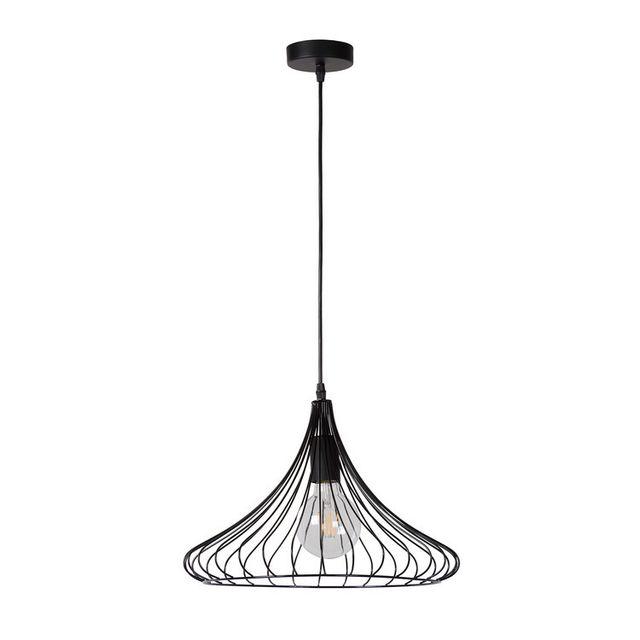 Lucide - Suspension filaire conique en métal noir diamètre 39.5cm Vinti