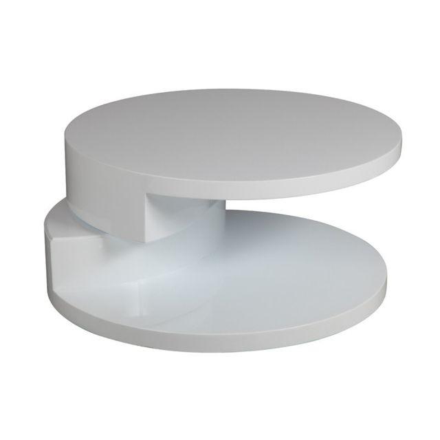 Inside 75 Table Basse Ronde Design Azur Blanche Pas Cher Achat