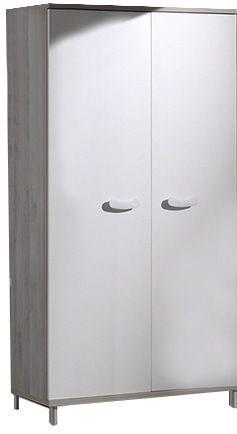 Comforium Armoire 100x202x53 cm à 2 portes coloris greige-blanc