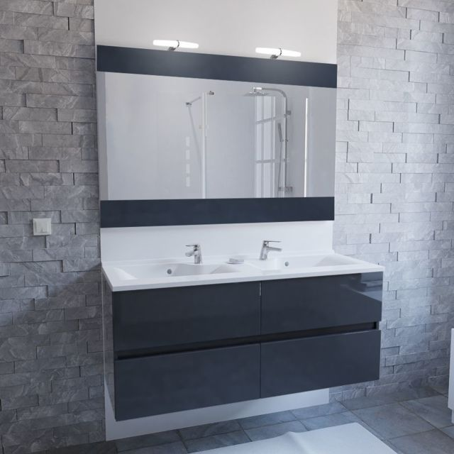 Creazur meuble salle de bain double vasque rosaly 120 gris brillant pas cher achat vente - Meuble salle de bain rue du commerce ...