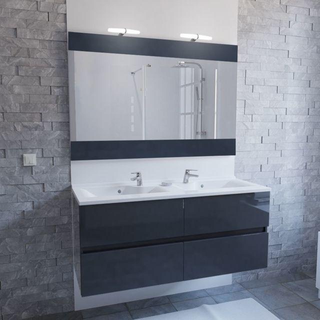 Meuble salle de bain double vasque ROSALY 120 - Gris brillant