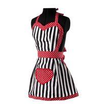 Vigar - Tablier de cuisine imperméable polyester/coton rayure blanc/noir motif cœur 80x75cm Romantic