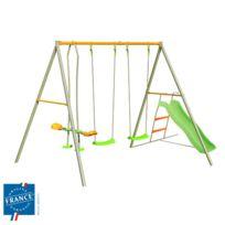 - Portique métal 2,20 m face à face, balançoires, toboggan pour 4 enfants
