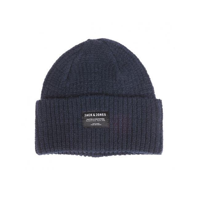 e9851885ca21a Jack&Jones - Bonnet à revers en coton et laine bleu marine - pas cher Achat  / Vente Casquettes, bonnets, chapeaux - RueDuCommerce