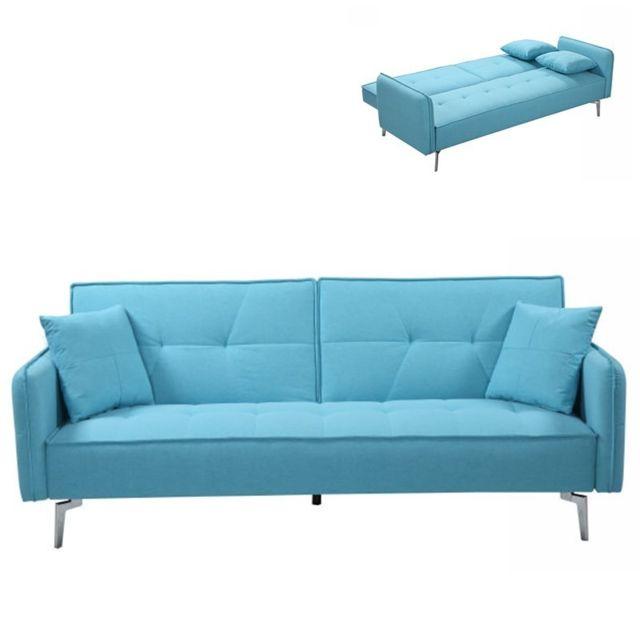 Meubler Design Canapé Convertible Double 2-3 Places Avec Dossier Inclinable Studio - Turquoise