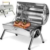 Rocambolesk - Superbe Barbecue portable double plaque grill - acier inoxydable - poignée ventilation neuf