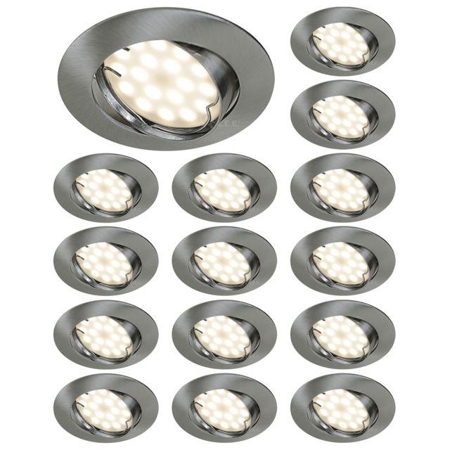Lampesecoenergie Lot De 15 Spot Led Encastrable Orientable Alu Brosse Avec Ampoule Gu10 230V eq. 50W, Blanc Chaud 3000K