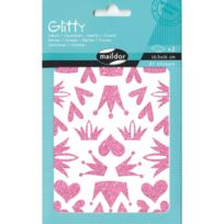 Maildor - Stickers Glitty 2 planches : Coeur et couronnes Roses
