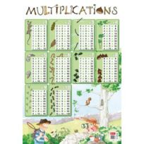 "Editions Piccolia - poster pedagogique en pvc 76x52cm ""tables de multiplications"